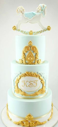 Regal and Vintage Style Christening Cake