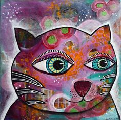 Abstract Funky Cat Original Wall Art by StephanieEstrin on Etsy, $125.00 Cat Necklace, Cat Colors, Shop Local, Etsy Shop, Fine Art, Gemstones, Wall Art, The Originals, Abstract