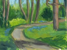 "Daily+Paintworks+-+""Path+With+Forget-Me-Nots""+-+Original+Fine+Art+for+Sale+-+©+J+M+Needham"