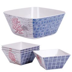 Red Coral 5 Piece Salad Bowl Set