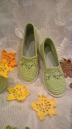 """Купить Вязаные туфельки""""Нежность"""" - салатовый, лёгкая удобная обувь, вязаные туфельки, вязаная обувь"""