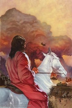 Revelation Now I saw heaven opened, and behold, a white horse. And He who sat on him called Faithful and True, and in righteousness He judges and makes war. He was clothed with a robe dipped in blood, and His name is called The Word of God. Bible Pictures, Jesus Pictures, King Jesus, Jesus Is Lord, Revelation 19, Saint Esprit, Jesus Art, Jesus Is Coming, Prophetic Art