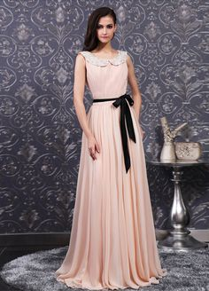 sleeveless bateau chiffon dress with a sash
