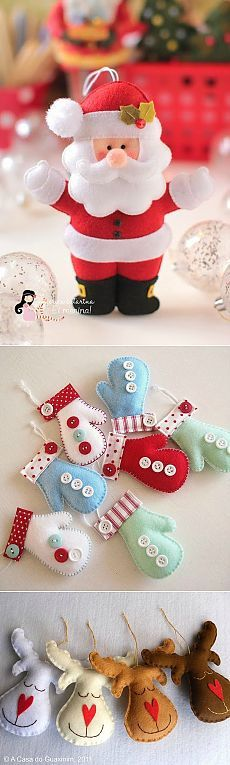 Jucării de Crăciun coasă de pâslă - Moș Crăciun, om de zăpadă, cerb ....