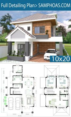 4 Bedrooms Home Plan - SamPhoas Plansearch Free House Design, Simple House Design, Modern House Design, 4 Bedroom House Plans, Dream House Plans, House Floor Plans, Building Design, Building A House, Model House Plan