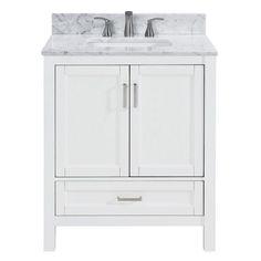 Scott Living Durham White Oak Single Sink Bathroom Vanity With Carrara Natural Marble Top 30 Vanity, Bathroom Vanity Designs, Single Sink Vanity, Single Sink Bathroom Vanity, White Vanity, Mirror Bathroom, White Bathroom, Durham, Small Toilet