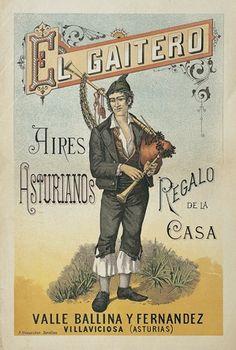 Portada de la partitura musical 'Aires Asturianos', 1897