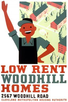 A cheery WPA Art Project poster from 1940 for the Cleveland Metropolitan Housing Authority.
