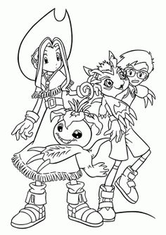 Mimi And Joe From Digimon Anime Coloring Pages For Kids Printable Free