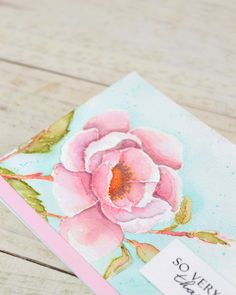 Distress Ink Watercolor Bloom using DIY carbon paper technique (with video tutorial) via Stamp Away With Me for Wplus9