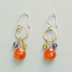 Sundance - MERRYMAKER EARRINGS - Bright carnelian strikes a merry note dangling with iolite and peridot on a 14kt gold filled hoop