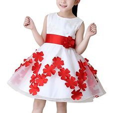 Happy Cherry White Girl Bridesmaid Wedding Dress Tutu Princess Floral Child Presenter Choral Service Performance Clothing White -- Find out more about the great product at the image link.