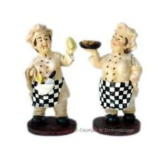 Set 2 Fat French Chef Figurines Statues Kitchen Decor