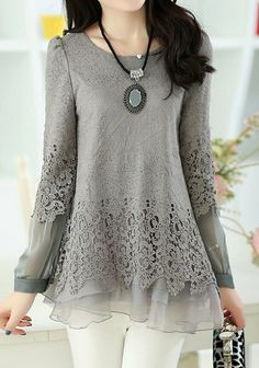 Women Long chiffon shirt loose lotus lace shirt by miracelgirl16, $59.99