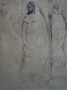 CHASSERIAU Théodore,1846 - Arabe barbu et autres Figures - drawing - Détail 13