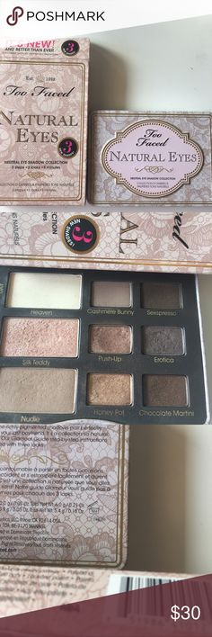 Too Faced Natural Eye Palette The Natural Eye palette is a great nude shadow palette for an everyday look. The larger eyeshadows also double as beautiful cheek highlighters. Great condition. Too Faced Makeup Eyeshadow