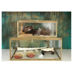 Antique Brass and Glass Display Box, $79