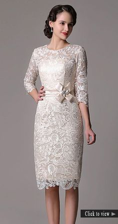 Elegant Sheath High Neck Knee-length Lace Wedding Dress With Lace Sleeve for Older Bride - May 11 2019 at Disney Wedding Dress, Second Wedding Dresses, Tea Length Wedding Dress, Tea Length Dresses, Dresses With Sleeves, Second Weddings, Lace Dresses, Older Bride Dresses, Mothers Dresses