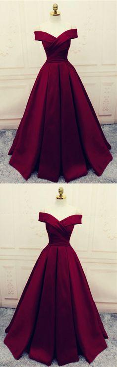 Satin Off Shoulder Burgundy A-line Formal Dress, Elegant Party Dress, Deep Burgundy Prom Dress 2018