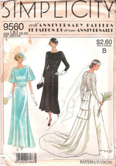 Simplicity 9560 1920s Wedding Dress Sewing Pattern - Think Downton Abbey