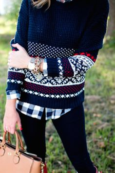 cute navy waffle knit fairisle sweater http://rstyle.me/n/sew32r9te
