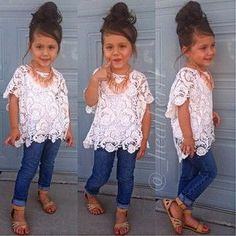 3Pcs New Baby Girls Clothing Set Lace Top T-Shirt + vest + Denim Jeans Suit 2-7T