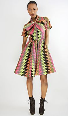 The Minnie Bell- African Print 100% Holland Wax Cotton Dress. $105.00, via Etsy.