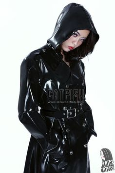 Dreary Day Unisex Long Rubber Latex Jacket with Cap,Double Breasted Belted Raincoat Mackintosh with Hood