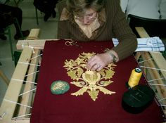 Photography Workshop Embroidery in Gold Tambour Embroidery, Gold Embroidery, Cross Stitch Embroidery, Fabric Embellishment, Gold Work, Lace Making, Fabric Manipulation, Couture, Pattern Making
