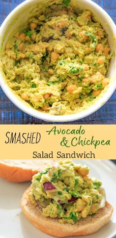 This Smashed Avocado and Chickpea Salad Sandwich is an easy vegan recipe to throw together for a healthy lunch or dinner with only 5 main ingredients (plus bread). via @trialandeater #avocado #chickpea #veganrecipes