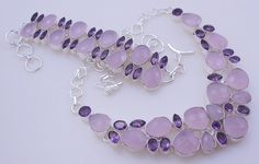 138 gram stunning ROSEQUARTZ-AMETHYST.925 sterling silver handmade  necklace with bracelet  free shipping by OCEANJEWELLERS on Etsy
