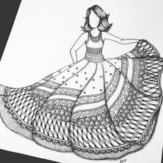 40 Absolutely Beautiful Zentangle patterns For Many Uses - Bored Art Dress Design Drawing, Girl Drawing Sketches, Dress Design Sketches, Fashion Design Sketchbook, Doodle Art Drawing, Girly Drawings, Cool Art Drawings, Zentangle Drawings, Fashion Illustration Sketches