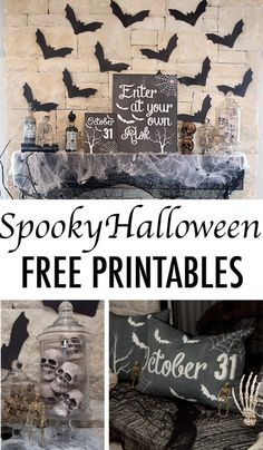This Chalkboard Halloween Mantle is fun, I love the reclining skeleton. It also comes free Halloween Printables including a Boo Banner and Chalk Prints from Lillian Hope Designs. 31 Inspiring Halloween Mantles and Tablescapes to dress up your home this October Season on Frugal Coupon Living.