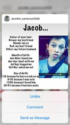 Jacob my boyfriend, slept with me because I was cute :) lol not bad