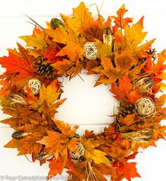 (1) Fall Leaf Wreath:  (How to make a fall leaf wreath.)  This wreath takes about 15 minutes to assemble and it looks great hanging  inside or outside.