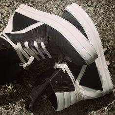 Rick Owens Geobasket Black Laser-Cut Leather High Top Trainers. #rickowens #rickowenssneakers #rickowensfootwear #rickowensgeobasket #geobasket #fashion #style #mens #menswear #mensfashion #mensstyle #sneaker #sneakerhead #sneakers #sneakerzone #sneakergeek #sneakernews #sneakerporn #sneakerpimp #luxurious #luxury #zoolife #zoofashions #newarrivals #aw15 #fw15