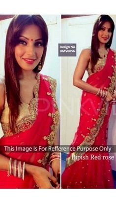 Bipasha Basu Red Georgette Saree With Blouse - DMV8856