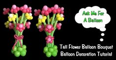 Tall Flower Balloon Bouquet - DIY Balloon Decoration. Perfect for baby showers, Mother's Day, weddings and more!