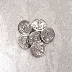 Silver Anchor Metal Buttons 19mm  3/4 inch by brizelsupplies