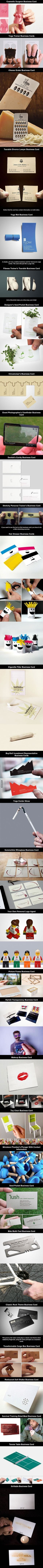 Some of these are really cool. 30 Of The Most Creative Business Cards Ever. http://9gag.com?utm_content=buffer4183c&utm_medium=social&utm_source=pinterest.com&utm_campaign=buffer  http://arcreactions.com/services/online-marketing/?utm_content=buffer34bb6&utm_medium=social&utm_source=pinterest.com&utm_campaign=buffer