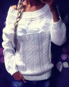 Chic Boat Neck Long Sleeve Pure Color Sweater For Women