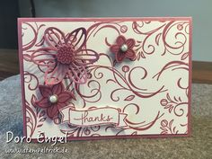 Stampin Up! Thanks Card, May Flowers Framelits, Falling Flowers stamps, Endless Thanks, Sweet Sugarplum