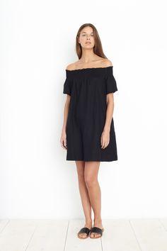 crete smocked neck dress, black | Apiece Apart.