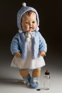 American Character Tiny Tears antique doll w/outfit & vintage glass baby bottle
