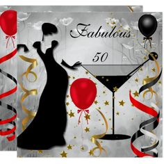 Fabulous 50 Birthday Party Deco Lady Red 2 Invitation , Fabulous 50 Fifty Birthday Party Red Silver Black Art Deco Lady Fabulous Elegant Events for Women, Girls, Party Invites for all ages, just customize to the age you want! 50th Birthday Cards For Women, 21st Birthday Themes, Moms 50th Birthday, 50th Birthday Party Invitations, Elegant Birthday Party, Fifty Birthday, 30th Birthday Parties, Birthday Woman, Women Birthday