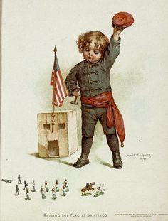 "Gallant little patriots illustration...""Raising the Flag on the Santiago"",by Maud Humphrey"