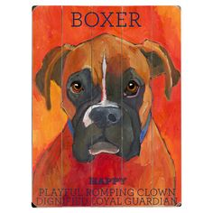This Boxer wood sign by Artist Ursula Dodge is sure to bring style to your space and a smile on your face.