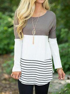 d5f5b78d6defb Back Lace Color Blocking Long Sleeve T-shirt