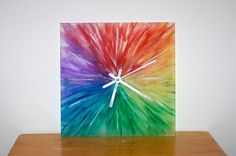 IKEA Hackers: Color Wheel Sunburst Skoj Clock.  I love this idea!  Make to fit your color scheme.