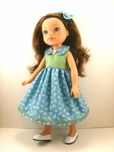 """Made To Fit Hearts For Hearts, Kish, Betsy McCall, Corolle Les Cheries 14"""" Dolls Sleeveless Dress and Hair Bow One Of A Kind"""